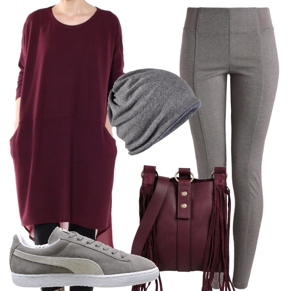 Outfit Sui toni del bordeaux e del grigio