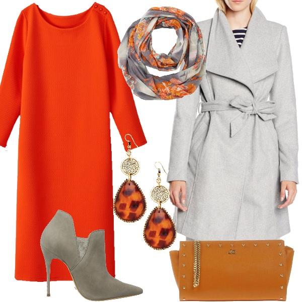 Outfit Arancio e grigio