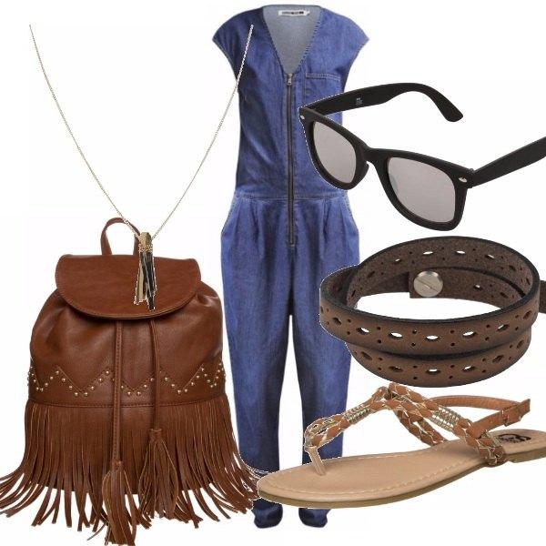 Outfit Denim e cuoio