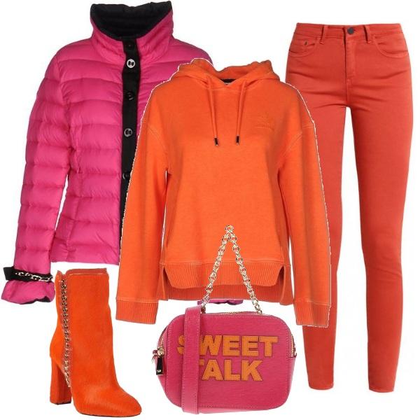 Outfit Arancione e fucsia