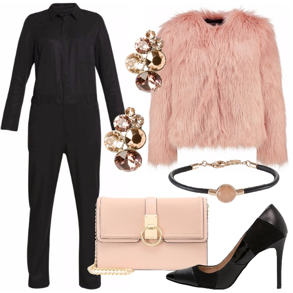 Outfit Trendy in nero e rosa