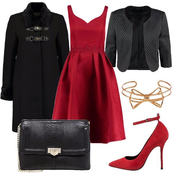 Molto elegante in rosso e nero outfit donna chic per for Ecopelliccia zalando