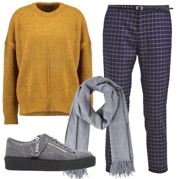 Outfit Ocra dorato grigio e blu