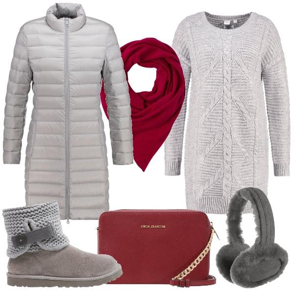Outfit Grigio ed un po' di colore