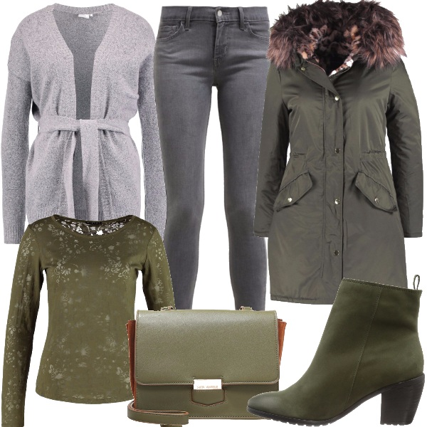 Outfit Verde oliva e grigio