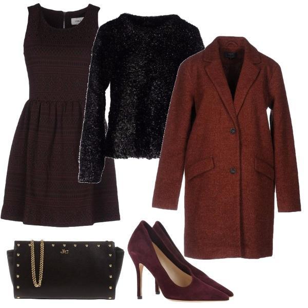Outfit Vestito color melanzana