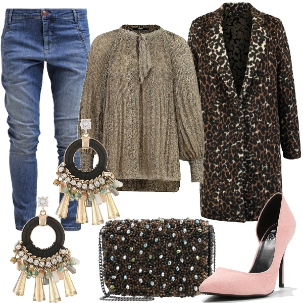 Outfit Jeans casual e fantasie animalier