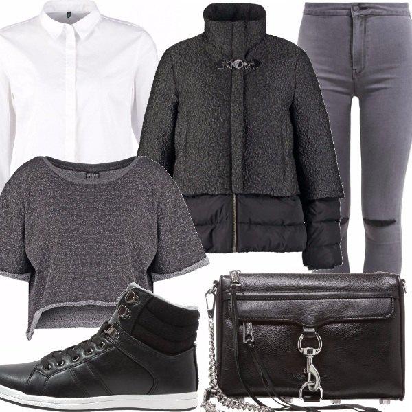 Outfit Bianco grigio nero