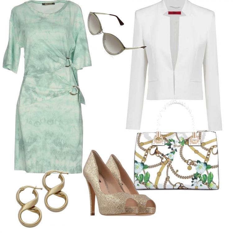 Outfit Verde acqua oro e bianco
