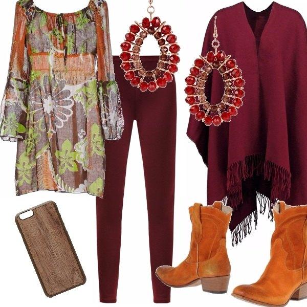 Outfit Cow girl in arancio e burgundy