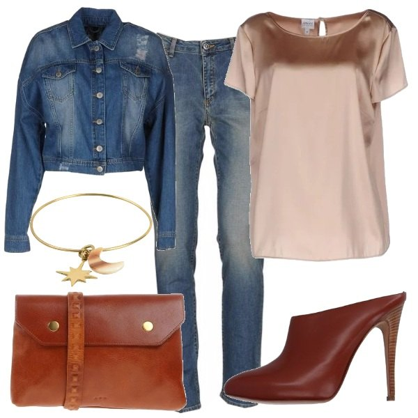 Jeans raso e cuoio outfit donna Trendy per ufficio e tutti i giorni | Bantoa
