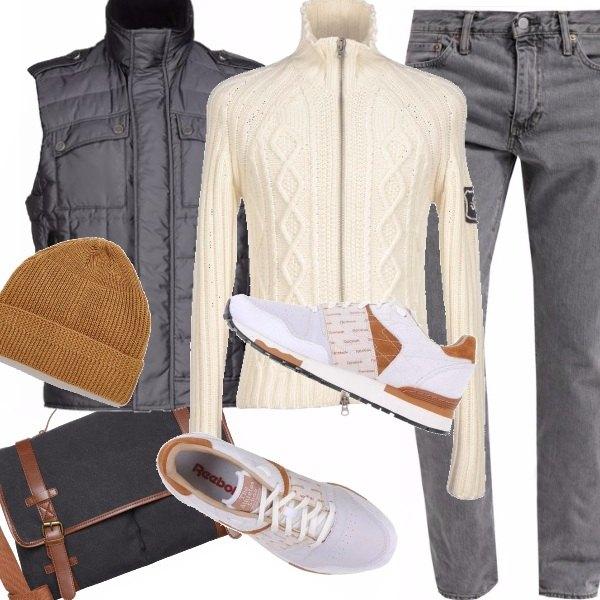 Outfit Uomo in grigio e panna