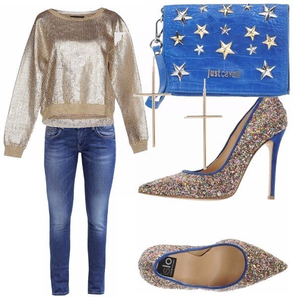 Outfit Denim & gold