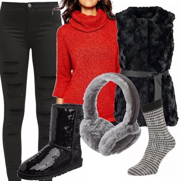 Outfit Red & black