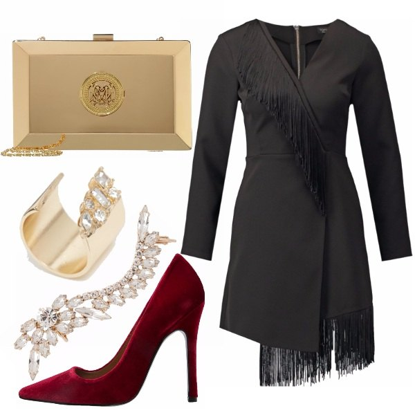 Outfit Gold, black & red