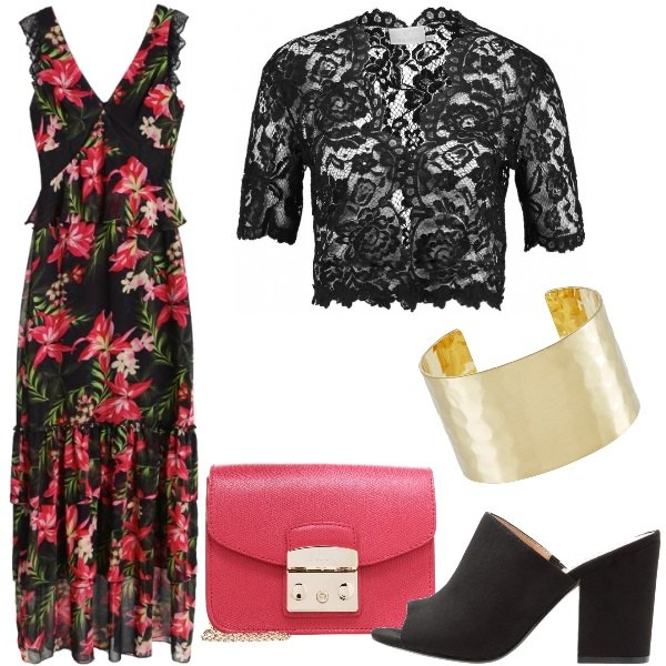 Outfit Fiori, pizzo e balze