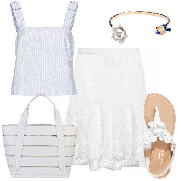 Outfit Romantica in bianco e azzurro