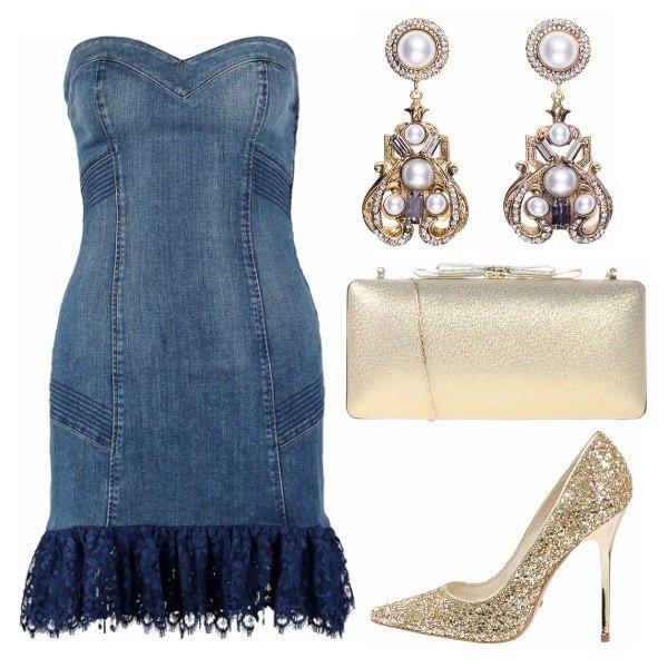 Outfit Serata in denim e oro!