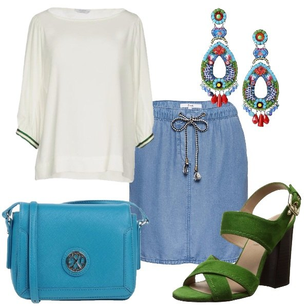 Outfit Dal verde all'azzurro