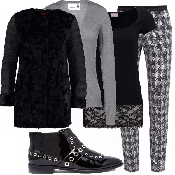 Outfit Metà piumino/metà pelliccia