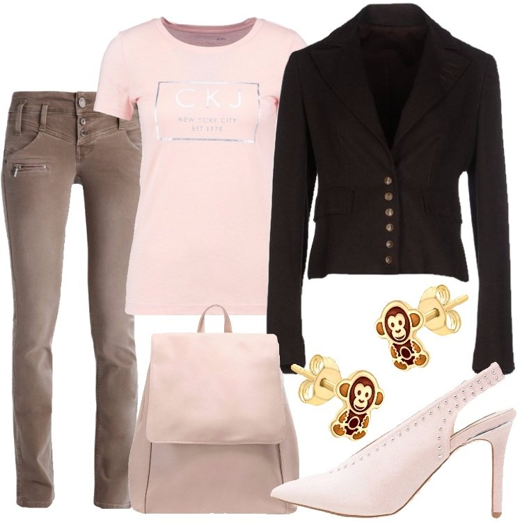 Outfit In rosa e marrone