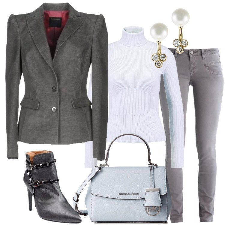 Outfit Il blazer in velluto piombo