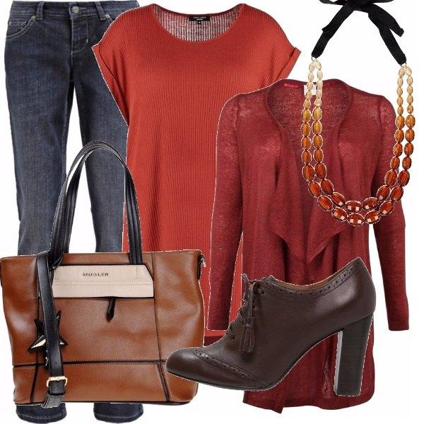 Outfit Curvy denim rusty