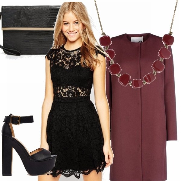 Outfit San valentino in nero & burgundy
