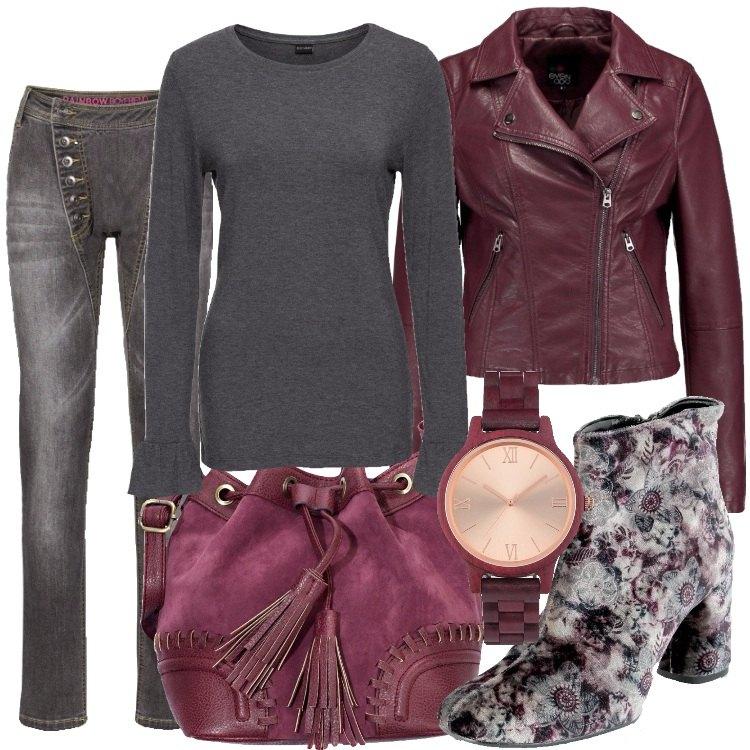 Outfit Grigio e bordeaux
