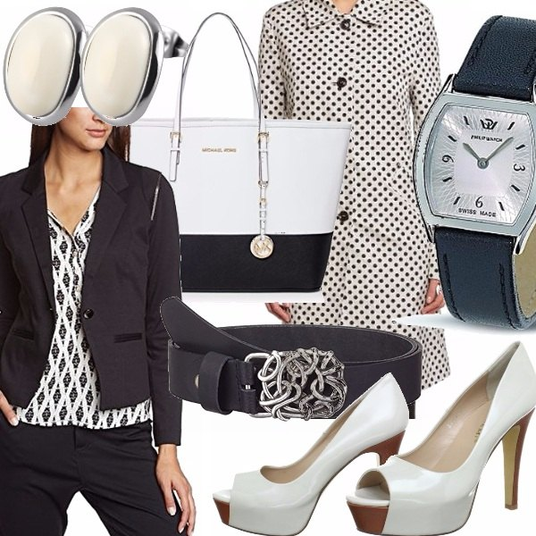 Outfit Bon ton: Bianco e blu