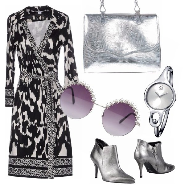 Outfit Glamour in wrap dress