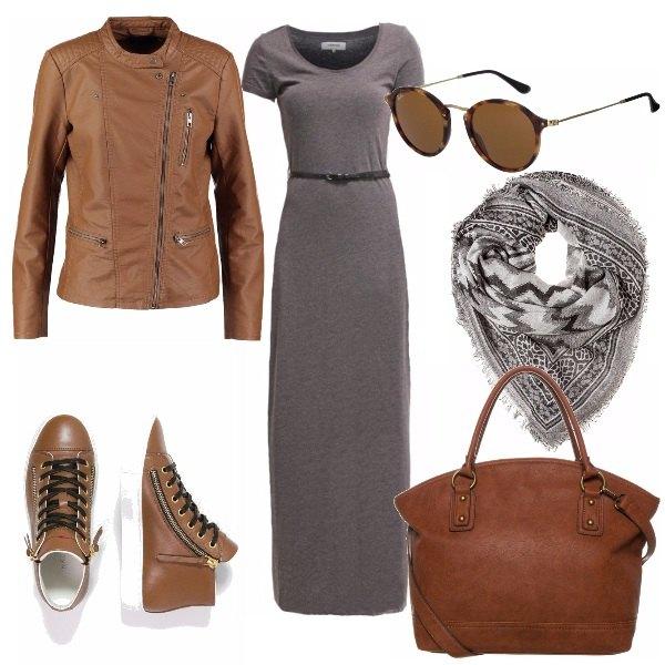 Outfit Grigio e cuoio