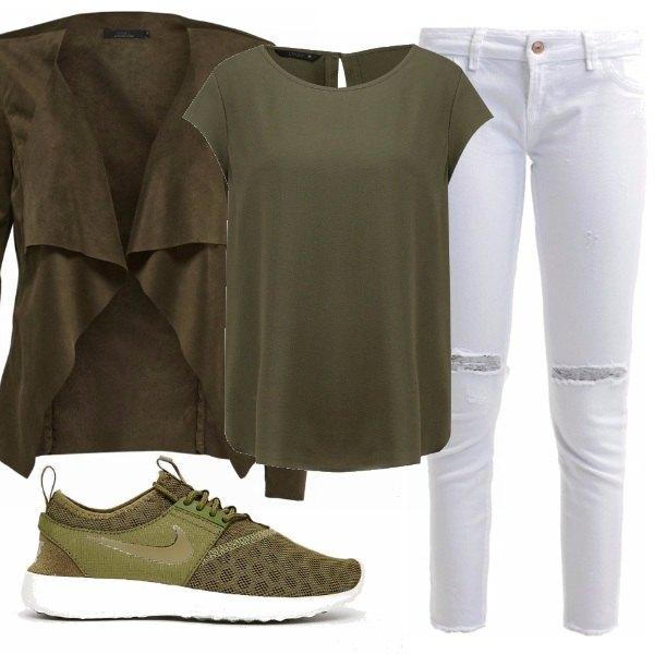 Favoloso Verde militare: outfit donna Sporty chic/Trendy per scuola  XT82