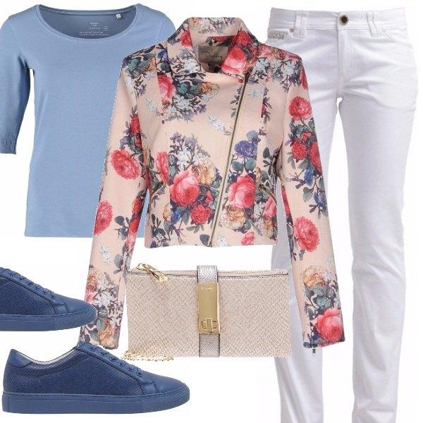 Outfit Biker e fiori