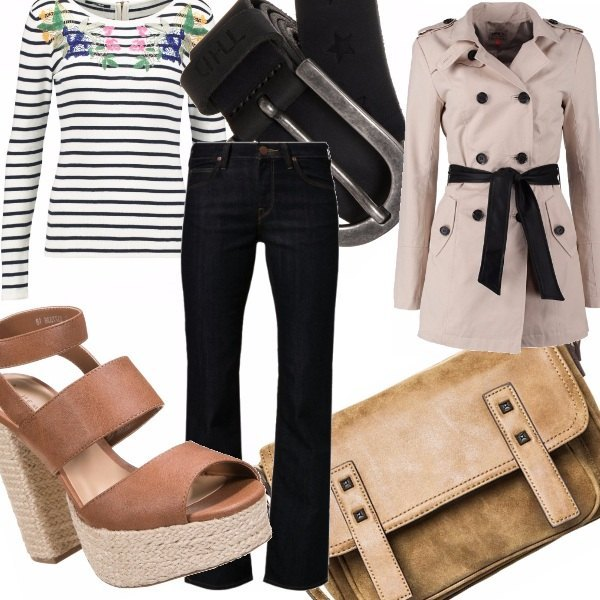 Outfit Pelle, righe e Beat Generation