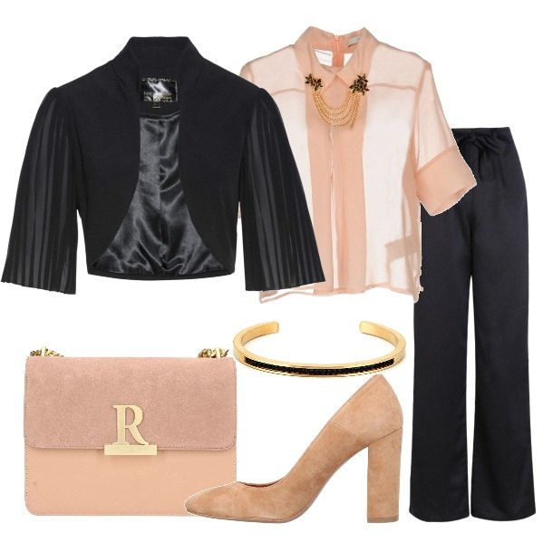 Outfit Cerimonia in nero e rosa