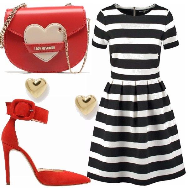 Outfit Righe e cuori