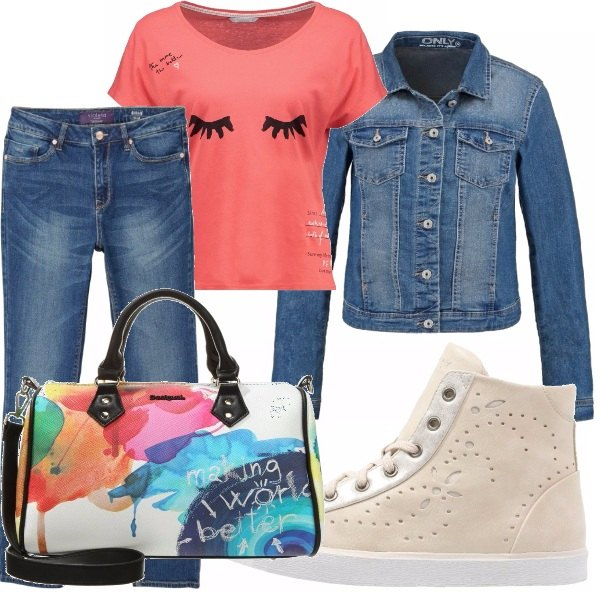 Outfit T-shirt peach echo!