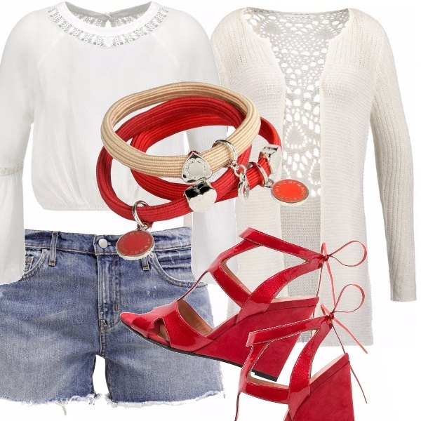 Outfit Rosso bianco e denim