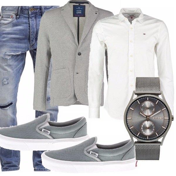 Outfit Matrimonio Uomo Grigio : Grigio e bianco outfit uomo bantoa