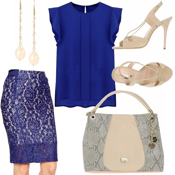 Molto Gonna di pizzo blu: outfit donna Elegante per cerimonia e ufficio  LR63
