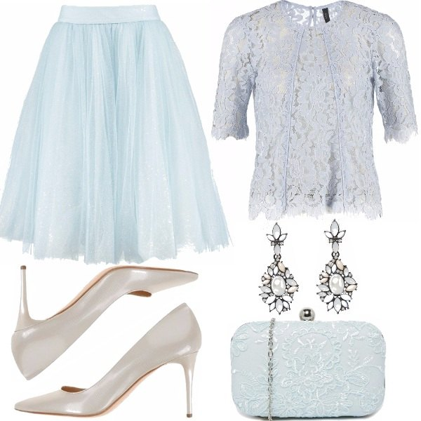 Outfit Tulle e pizzo celeste