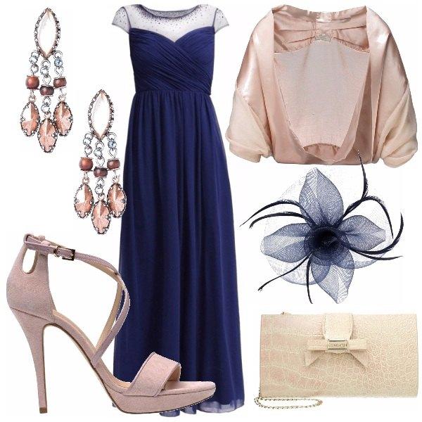 Outfit Blu navy e cipria