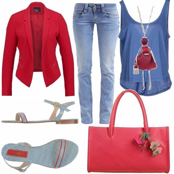 Outfit Rosse in jeans