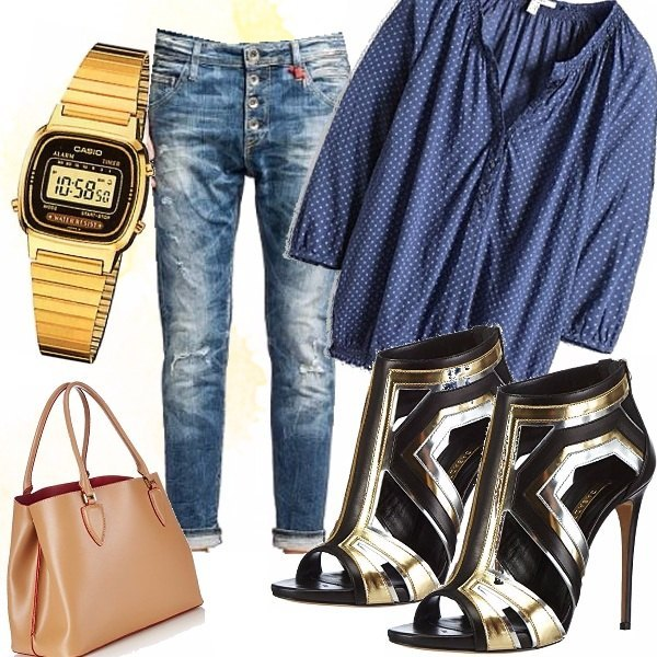 Outfit Jeans col risvolto