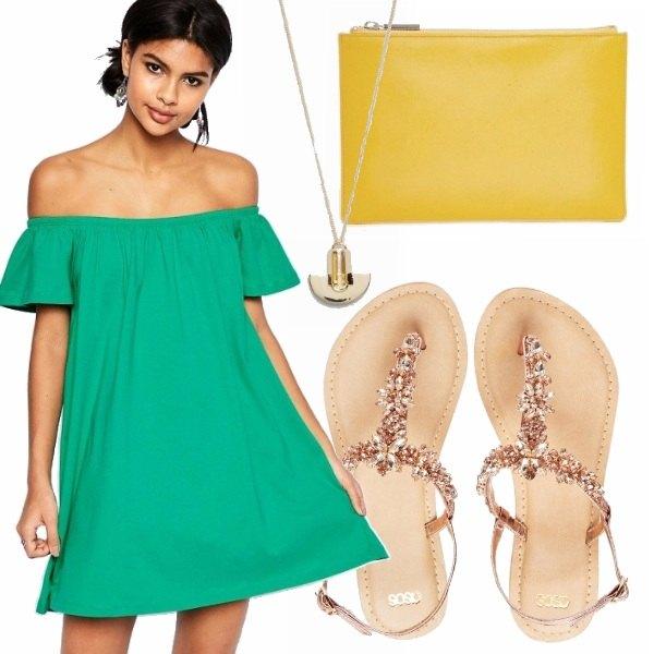 Outfit Verde giallo e pietre