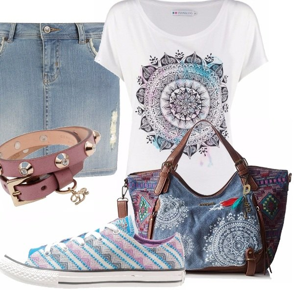 Outfit Gonna in jeans e sneakers
