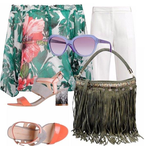 Outfit Verdi e coralli