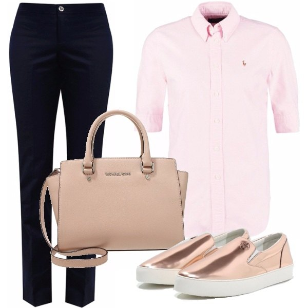 Outfit Navy e rosa