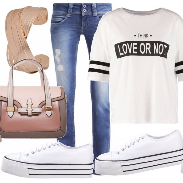 Outfit Jeans e bianco